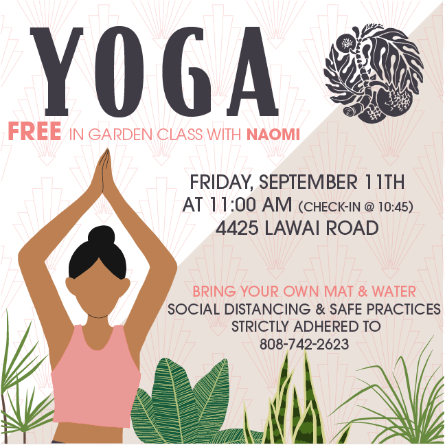 Flyer for free garden yoga class on September 11, 2020 at 11 a.m. @ our South Shore Visitor Center