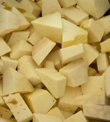 cubed ulu or breadfruit is nutritious substitution for bread in any thanksgiving stuffing recipe.