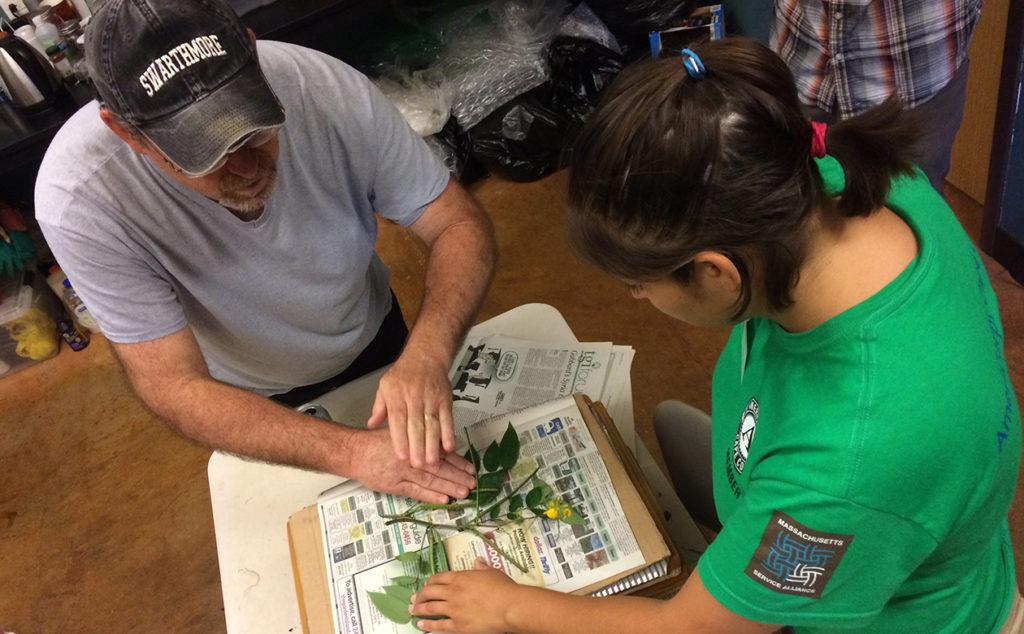 NTBG herbarium curator, Tim Flynn, instructs an intern on preserved plant specimens.